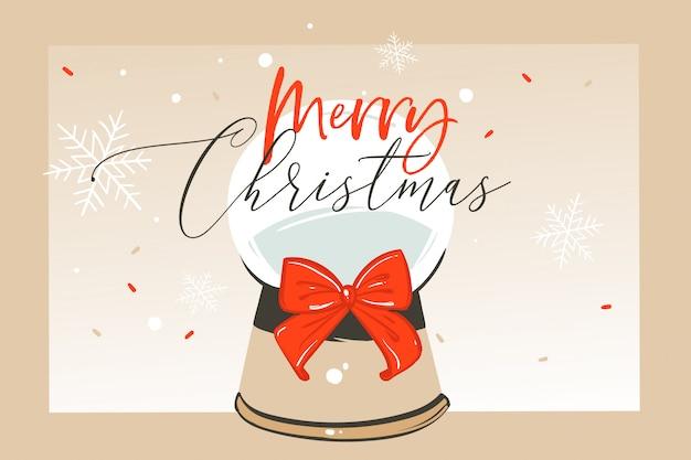 Mão desenhada diversão abstrata feliz natal tempo cartoon ilustração cartão com esfera de globo de neve de vidro e caligrafia de natal em fundo de ofício.