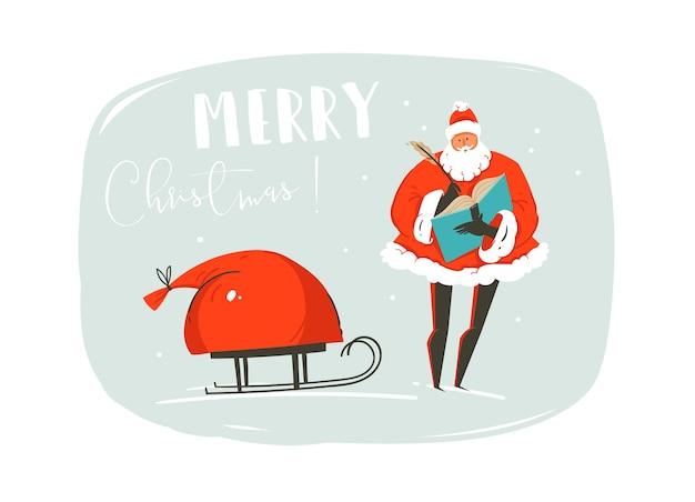 Mão desenhada diversão abstrata feliz natal tempo ilustração cartão com papai noel, saco de muitos presentes surpresa no trenó e tipografia moderna isolada sobre fundo azul.