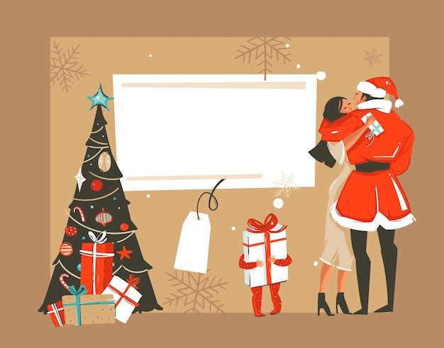Mão desenhada diversão abstrata merry xmas tempo cartoon retrô vintage ilustrações cartão com casal romântico que beijando e abraçando, árvore de natal e lugar para o seu texto isolado no fundo branco.
