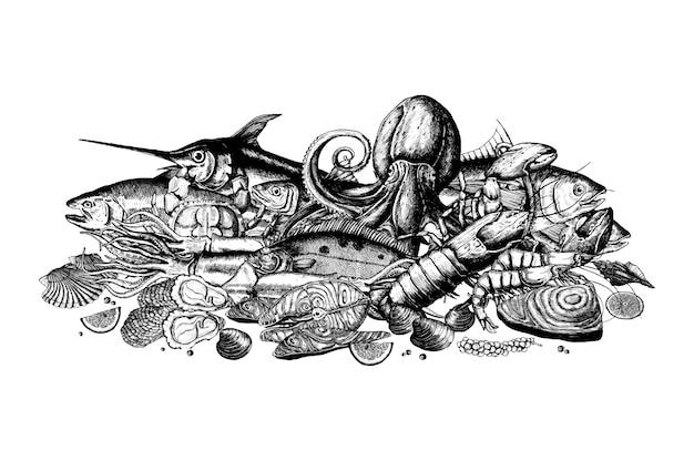 Mão desenhada do conceito de frutos do mar