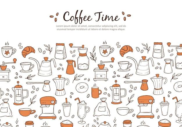 Mão desenhada do modelo de banner de site com cafeteiras variadas e sobremesas em fundo branco. estilo de desenho do doodle.