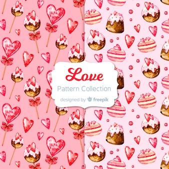 Mão desenhada doces padrão de dia dos namorados