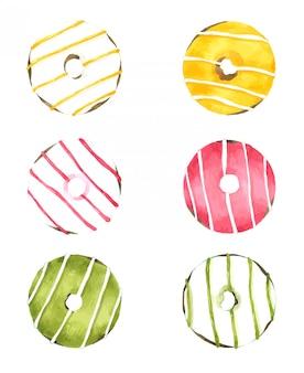 Mão desenhada donuts aquarela
