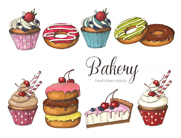 Mão desenhada donuts, bolo e cupcakes.