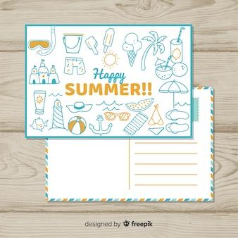 Mão desenhada doodle cartão postal de verão