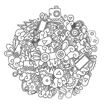 Mão desenhada doodle de multimídia, videogame, vamos jogar e cinema para design de capa, cartão de visita, envelope, papel timbrado, brochura e livro. modelo de marca de identidade corporativa realista.