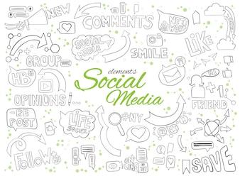 Mão desenhada doodle elementos para o tópico de mídia social.