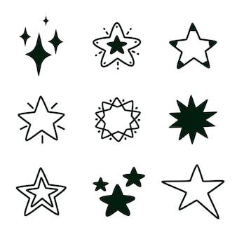 Mão desenhada doodle estrela doodle estrela linha preta isolada conjunto estrelas negras ilustração moderna vetorial