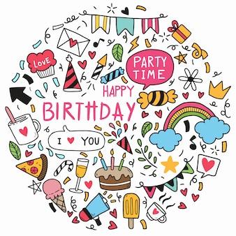 Mão desenhada doodle feliz aniversário ornamentos elementos festa ilustração vetorial