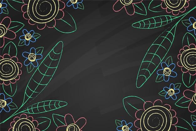 Mão desenhada doodle flores e folhas de fundo