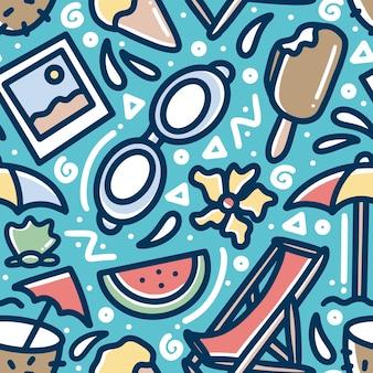 Mão desenhada doodle padrão de verão na praia com ícones e elementos de design