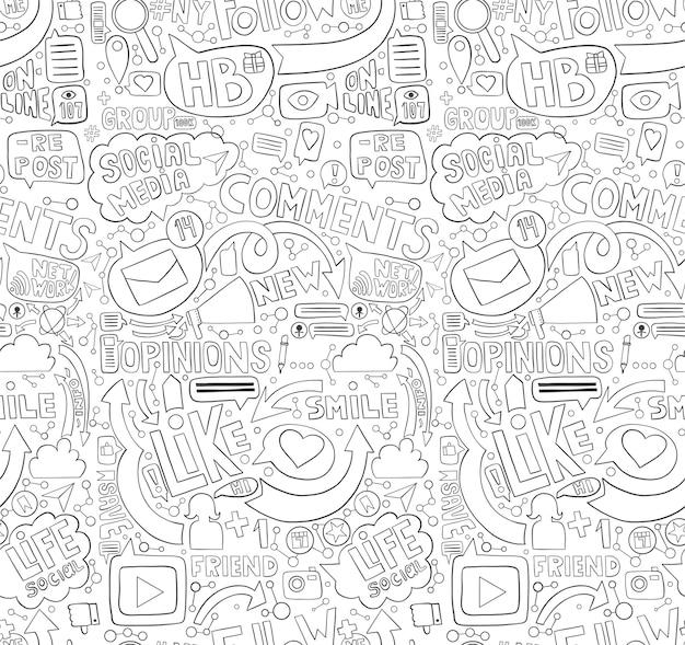 Mão desenhada doodle padrão sem emenda para o tópico de mídia social.
