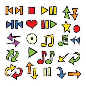 Mão desenhada doodle setas música ícone definir ilustração vetorial