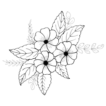 Mão desenhada dos namorados bouquet floral