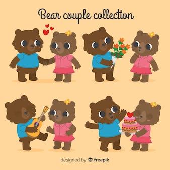 Mão desenhada dos namorados urso casal pacote
