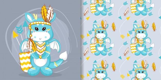 Mão desenhada dragão bonito e penas com conjunto padrão