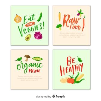 Mão desenhada e lettering coleção de cartão de comida