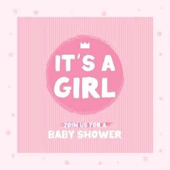 Mão desenhada é uma citação de menina em fundo branco. cartão do chuveiro de bebê com letras, coroa e coração. cartão de anúncio de bebê