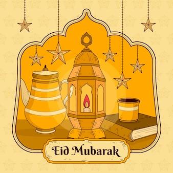 Mão desenhada eid mubarak com lanterna e estrelas