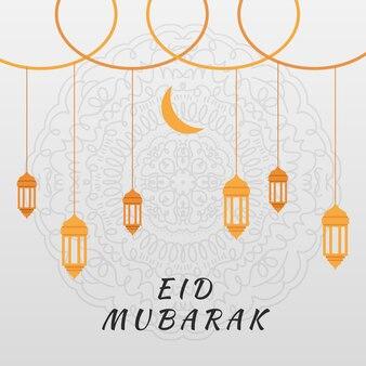 Mão desenhada eid mubarak com lua e lanternas
