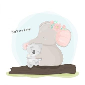 Mão desenhada elefante abraçando coala triste.