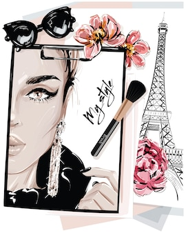 Mão desenhada elegante mesa conjunto com notas, desenhos, pincel de maquiagem, óculos de sol e flores.