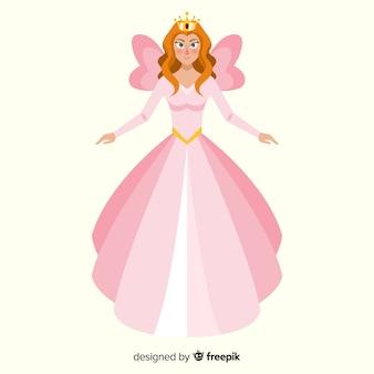 Mão desenhada elegante princesa retrato