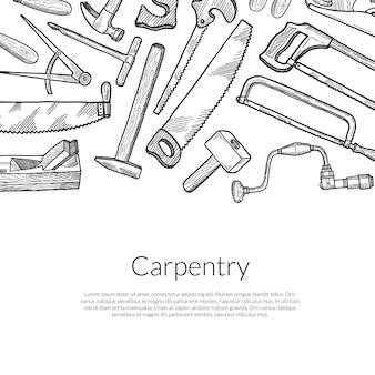 Mão desenhada elementos de carpintaria em branco
