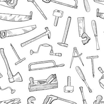 Mão desenhada elementos de carpintaria padrão ou plano de fundo