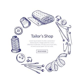 Mão desenhada elementos de costura em forma de círculo, com lugar para texto no centro redondo ilustração