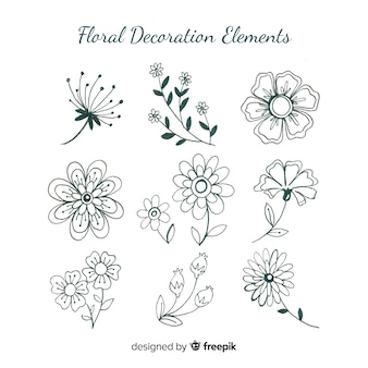 Mão desenhada elementos de decoração floral