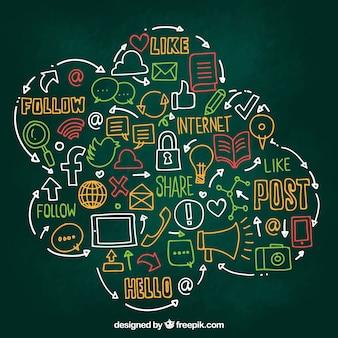 Mão desenhada elementos de mídia social em forma de nuvem
