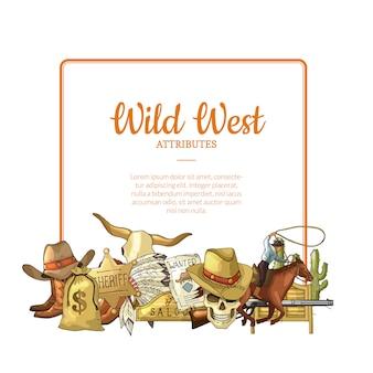 Mão desenhada elementos de oeste selvagem cowboy abaixo do quadro