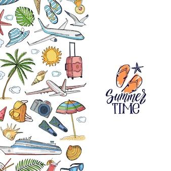 Mão desenhada elementos de viagem de verão