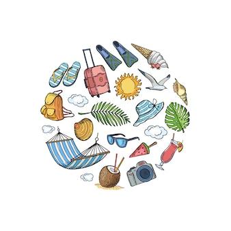 Mão desenhada elementos de viagens de verão em forma de círculo