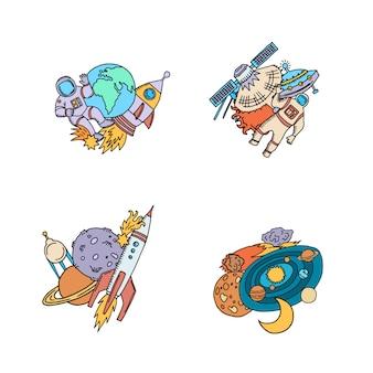 Mão desenhada elementos do espaço com o planeta e o foguete