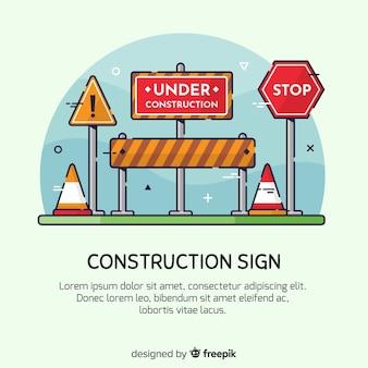 Mão desenhada em fundo de sinal de construção