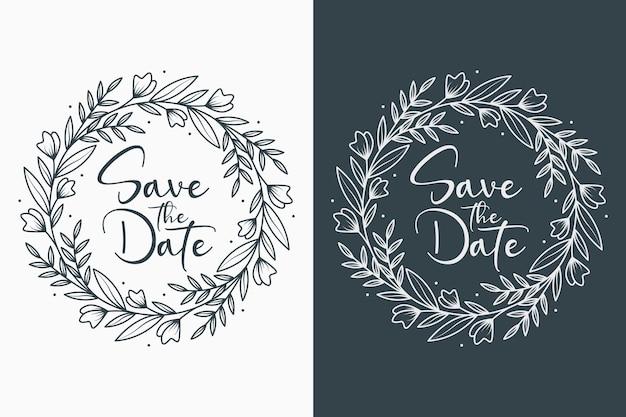 Mão desenhada emblemas de casamento florais mínimos com estilo circular