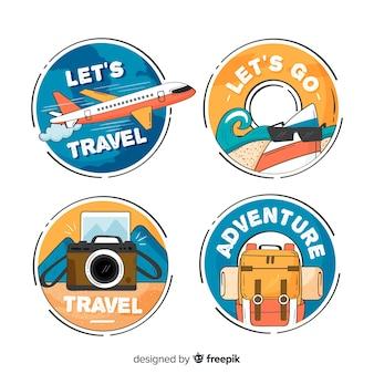 Mão desenhada emblemas de viagem dentro de um círculo