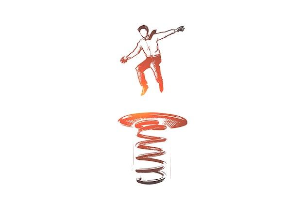 Mão desenhada empresário pulando no trampolim como símbolo do progresso