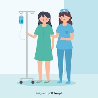 Mão desenhada enfermeira cuidando do paciente