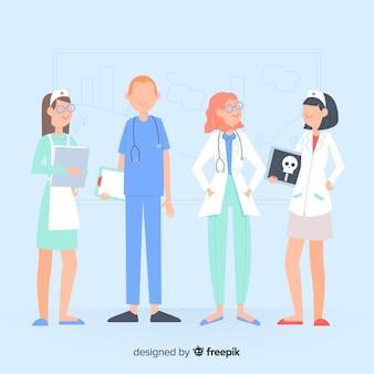 Mão desenhada enfermeira equipe