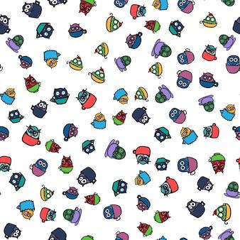 Mão desenhada engraçado coruja na copa. padrão sem emenda de corujas para itens de impressão, tecido, envoltório e ilustração, jogo, web e infantil. bom dia ou boa noite vetor