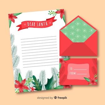 Mão desenhada envelope de natal e design de carta