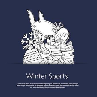 Mão desenhada equipamento desportivo de inverno e atributos no bolso