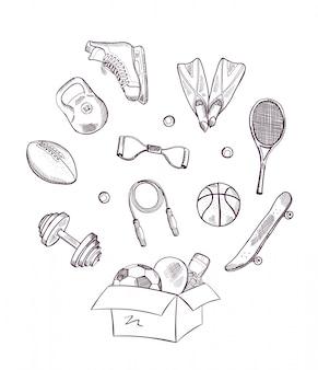 Mão desenhada equipamentos esportivos pulando fora da caixa