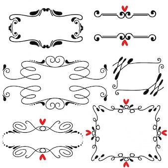 Mão desenhada esboçado linha fronteira casamento arte vetorial ilustração
