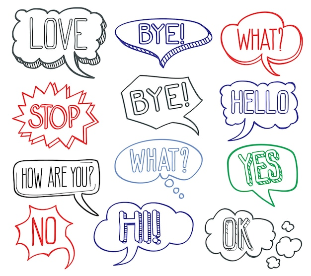 Mão desenhada esboço discurso bolhas nuvens com mensagens diferentes. conjunto de mão desenhada desi de bolha em quadrinhos