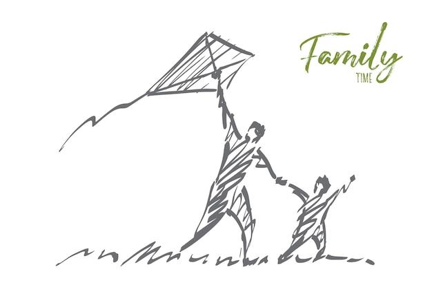 Mão desenhada esboço do conceito de tempo para a família.
