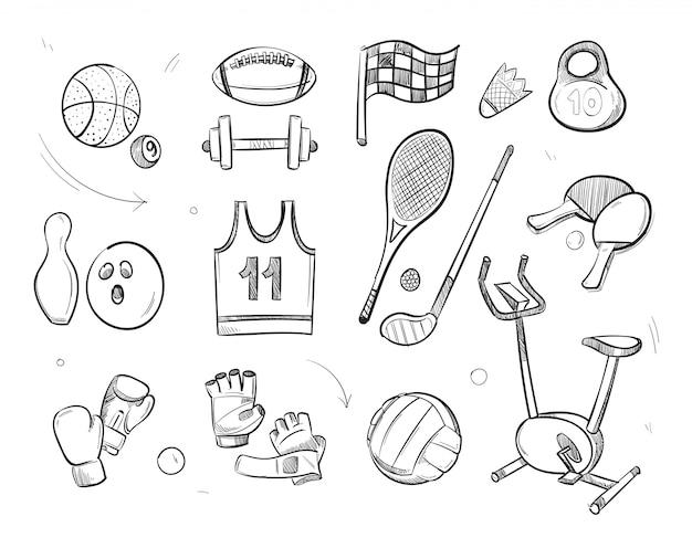 Mão desenhada esboço equipamentos de fitness de esportes